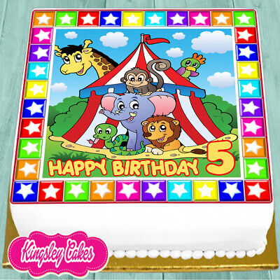 75 Inch Square Cake Topper Precut Edible Icing Circus 5Th Birthday Age 5 Ns1509