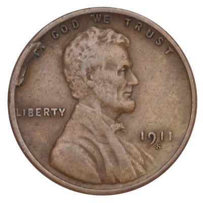 1911-S Lincoln Wheat Cent 1C Penny (Very Fine, VF Condition)