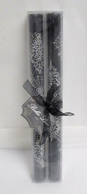Bella Lux Set of 2 Halloween Silver Sparkle Spider Web Black Taper Candles