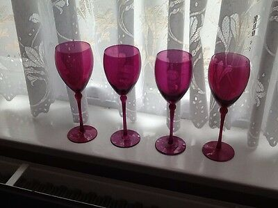 "Four 9.5"" Pink Glasses"