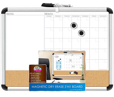 The Board Dudes The Board Dudes Magnetic 3-In-1 Dry Erase Cork Calendar Board (4
