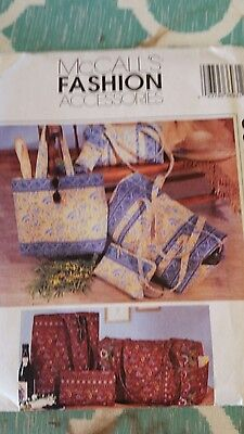 McCall's 3693 Sewing Pattern Duffle Bags Make-Up Case Tote Bag Eyeglass Case UC