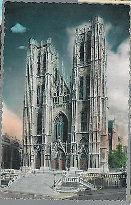 Brussels, Belgium Postcard: St Michael And St Gudula (Gudule) Cathedral 1954