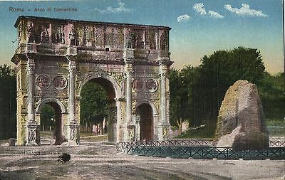 Postcard: Italy, 1918 Rome: Arch Of Constantine - Stampless - Train Statn Cancel