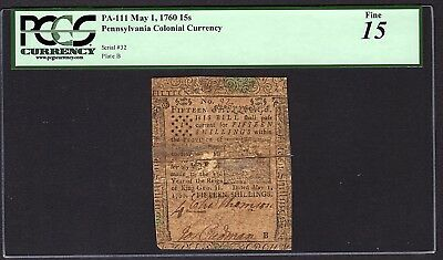 1760 Pennsylvania Printed By Benjamin Franklin Colonial Note PCGS 15 PA-111 RARE