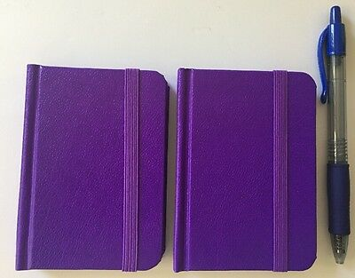 2-pack New Small Purple Hardcover Pocket Notebook Journal 96 Pages 4.5 x 3 Ruled