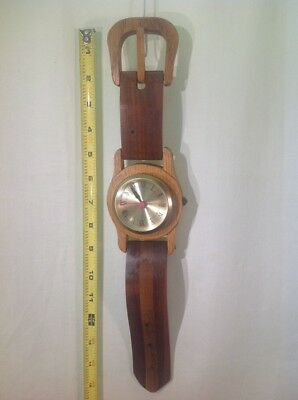 "Vtg. Rare Art Hardwood Wall Clock Wrist Watch Converts To Desk Clock 15"" Long"