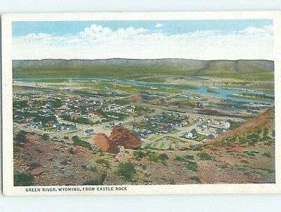 Unused Linen AERIAL VIEW Green River - Near Rock Springs Wyoming WY A4794