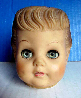 Vintage EEGEE Rubber DOLL HEAD Molded Hair, Open/Close Eyes