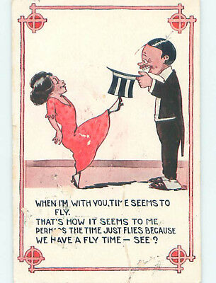 Surface Wear Pre-Linen comic HAPPY COUPLE NOTICE TIME SEEMS TO FLY HJ1831