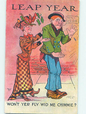 1908 comic WOMAN TRIES TO GET HUSBAND ON LEAP YEAR HJ1858