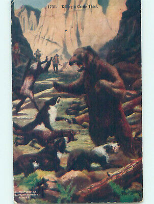 Pre-Linen western OLD WEST COWBOYS AND DOGS KILL BEAR STEALING CATTLE HJ4923