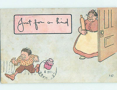 Pre-Linen comic MOM CHASES BAD BOY WITH HER ROLLING PIN HJ1781