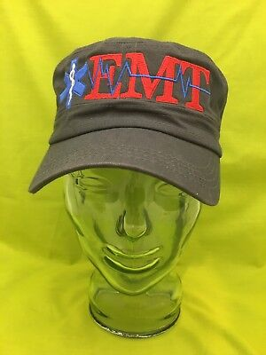 NEW Embroidered EMT Medical Star Of Life Charcoal Gray Army Military Cap Hat