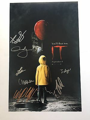 It 2017 Cast Poster Signed Bill Skarsgard  Jaeden Lieberher Sophia Lilis Wyatt