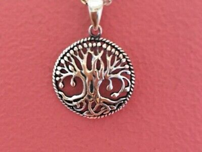 925 Sterling Silver Small Round Celtic Tree of Life Pendant Necklace NEW