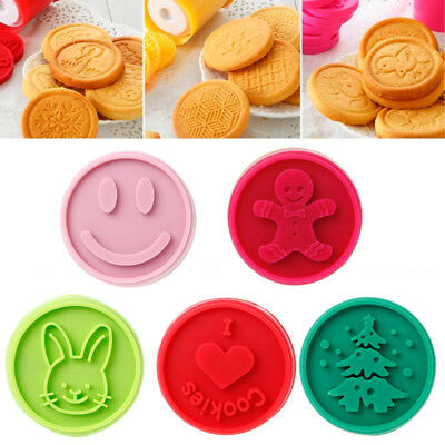 Christmas Cookie Stamps Tasty Teaser Baking Mold Round Biscuit Bakeware Cutter