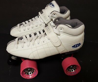 White Pacer Pro Series 428 Roller Skates  With pink Wheels size 7