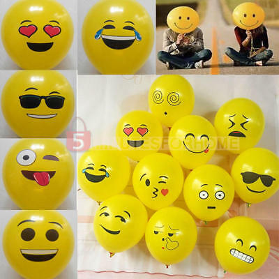 10 Pezzi Qualità LATTICE PARTY BALLOON Set-Giallo Smiley EMOJI FACE 12""