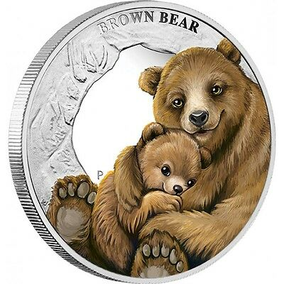 1 oz TUVALU Mother's Love- Brown Bear Finished in 18k White Gold Coin/Medallion