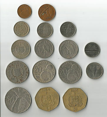 Samoa 16 Samoan coins all are different, incl a couple of newer smaller types