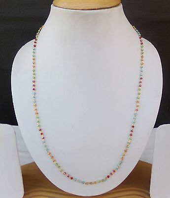 """Indian Ethnic Jewelry Gold Plated Glass Beads Chain Necklace Mala 20"""" Long cn25"""