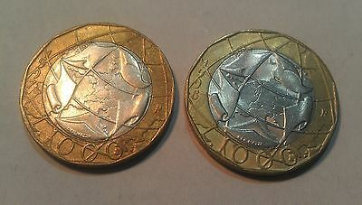 Italy 2 x 1000 Lire 1997 & 1998 coins 1 has map error, the other is corrected
