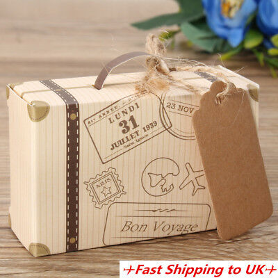 50/100Pcs Wedding Favor Suitcase Kraft Candy Boxes Sweet Gift Box Party Supply