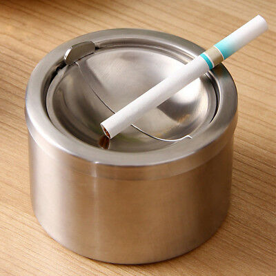 Cigarette Ashtray Stainless Steel Windproof Lid Cover Smoking Ashtray For Home