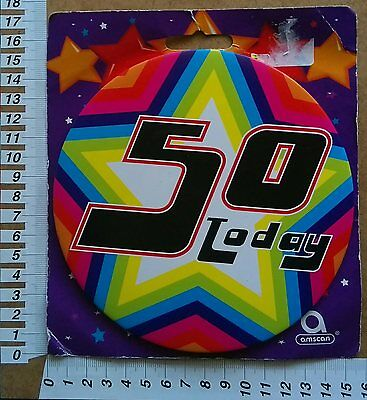 50 Today Jumbo Mega Badge Compleanno Festa Party Accessory Stand Pin 50 anni