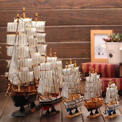 Office Sailboat Model Mediterranean 1 Pcs Solid Wood Style Home Decoration