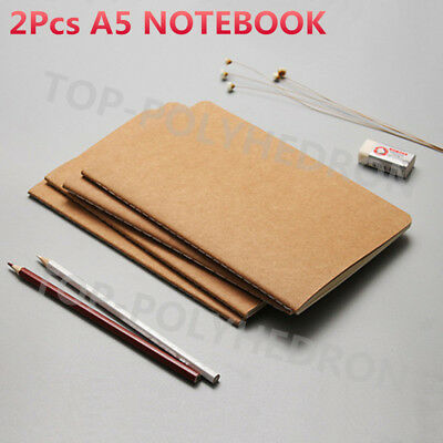 2x A5 Notebook Kraft Vintage Journal Diary Memo Paper Office Student Portable