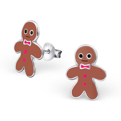 925 Sterling Silver Cute Gingerbread Man Hot Pink Tie Buttons Stud Earrings