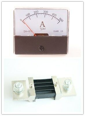 DC 0-500A Current Ammeter DH670 Panel Analog Amp Meter With Shunt