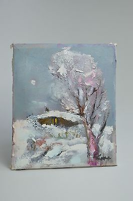Abstract Original/ Canvas / Art / Painting / Signed/ Oil / Winter 16 X 13 Cm