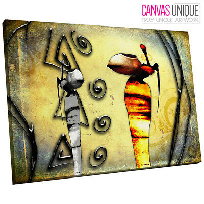 AB778 RETRO African design yellow Canvas Wall Art Abstract Picture ...