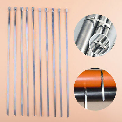 10x Stainless Steel Cable Zip Ties Strap Header Exhaust Wrap Locking 4.6mmx300mm