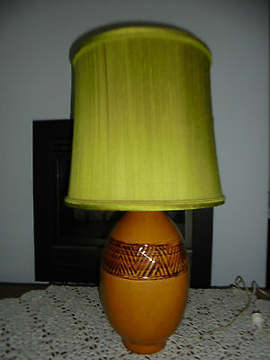 bedside table lamp retro pottery criss cross brown weaving pattern