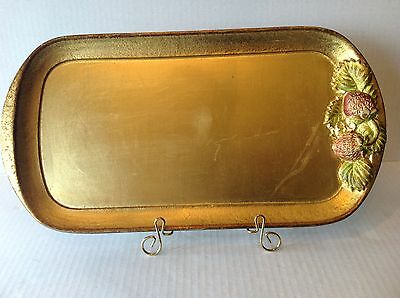 Vtg Italian Florentine Wood Tray by SEZZATINI Firenze Hand Painted with Label