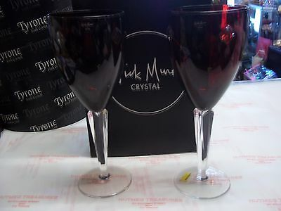 Tyrone Crystal Nick Munro  Compass Ruby Pair Wine Glasses  BNIB
