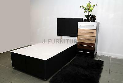 3ft Standard Single Divan Bed Base in Black Colour With Faux Leather Headboard!!