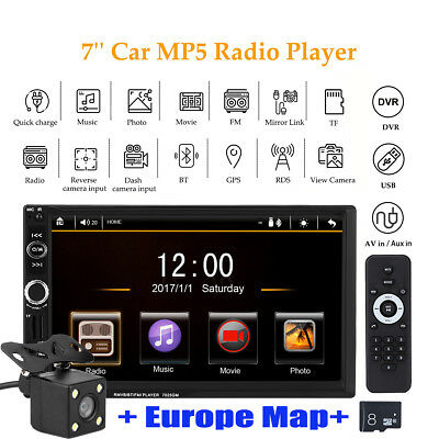 "7"" 2 DIN GPS Navigation MP5 Autoradio Media Player AUX/USB/SD/BT/FM + Map+Camera"