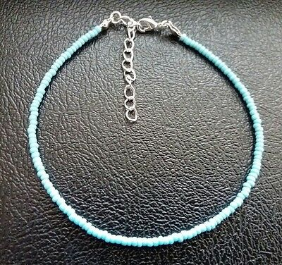 Turquoise Handmade Seed Bead Ankle Bracelet, Chain, Anklet