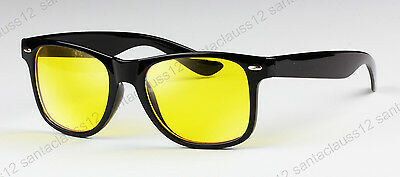 Yellow Lenses Black Frame Driving Night Vision  Square Glasses Sunglasses UV400
