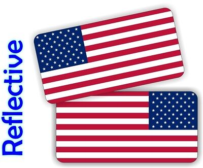 REFLECTIVE American Flag Hard Hat Stickers  Motorcycle Helmet Decals USA Flags