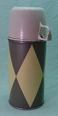Vintage 1960's metal Backgammon thermos for vinyl brunch bag Lunch Box