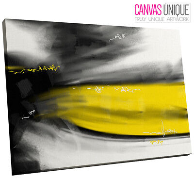 AB611 YELLOW Abstract Wave Torn Canvas Wall Art Ready to Hang ...