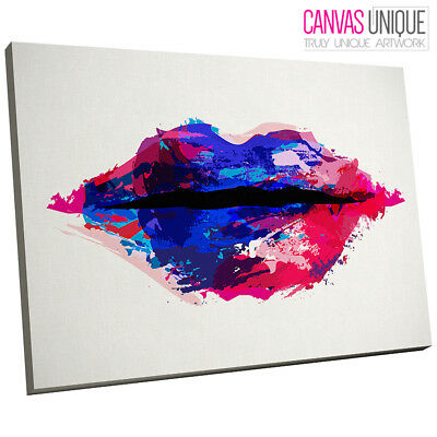 AB627 Blue Red Grunge Modern Lips Abstract Canvas Wall Art Framed Picture Print
