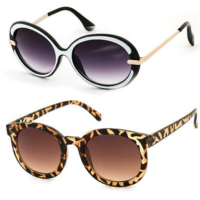 Women Ladies Sunglasses Panther Round Frame Brown Lens Fashion Party Fun Holiday