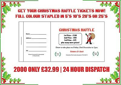 2000 Printed Personalised Raffle Prize Draw Tickets Christmas